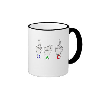 DAD ASL FINGERSPELLED NAME SIGN RINGER COFFEE MUG