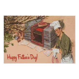 Dad Barbeque BBQ Retro Ad Vintage Father's Day Poster