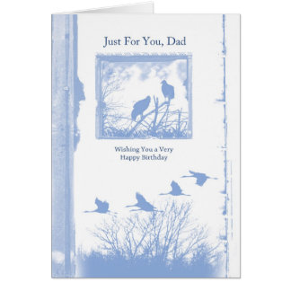 dad birthday card with birds - blue grunge