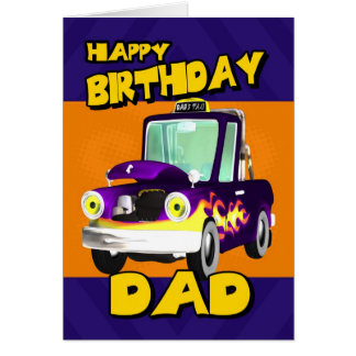 dad birthday card with dad's taxi cartoon pick-up