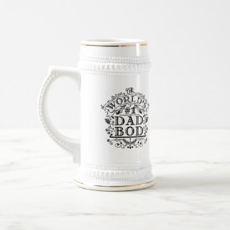 Dad Bod Funny Fathers Day Antique Typography Joke 18 Oz Beer Stein