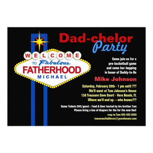 Dad-chelor Party - Daddy Diaper Keg Invitations