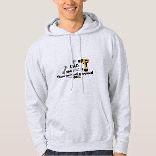 Dad DIY grey hooded sweatshirt