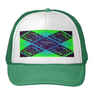 Dad Fancy Text Green Blue Background Trucker Hat