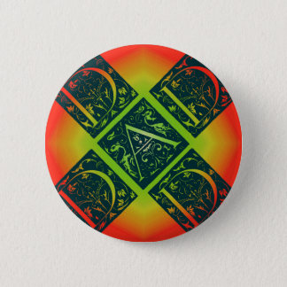 Dad Fancy Text Orange and Yellow 2 Inch Round Button