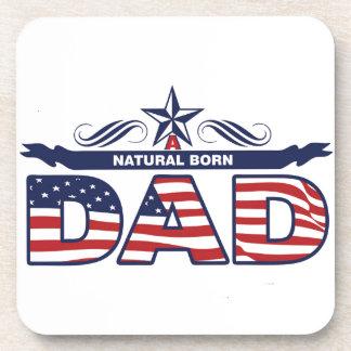 Dad, Father, A Natural Born Dad Beverage Coaster