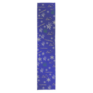 dad golden happy christmas text in blue short table runner