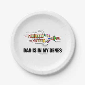 Dad Is In My Genes DNA Replication Humor 7 Inch Paper Plate