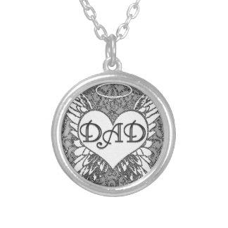 Dad  Memorial   Angel Wings Round Pendant Necklace