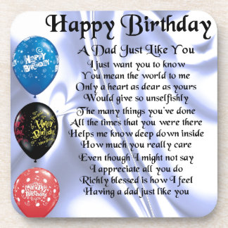 Dad Poem  Happy Birthday Coaster