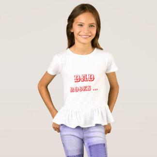 Dad rocks mom rules - Girls Rufle Tshirt/Top T-Shirt