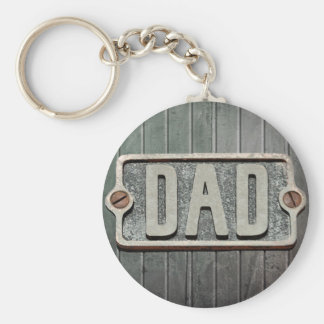 DAD Rustic Metal Plate Basic Round Button Keychain