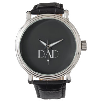 DAD Typography Black and White Vintage Watch
