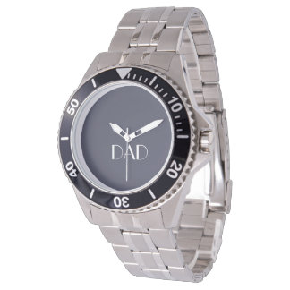 DAD Typography Blue Grey Stainless Steel Watch