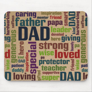 Dad Word Cloud Text Father's Day Typography Mouse Pad