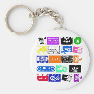 Dadawan K7 tapes vintage colors Basic Round Button Keychain