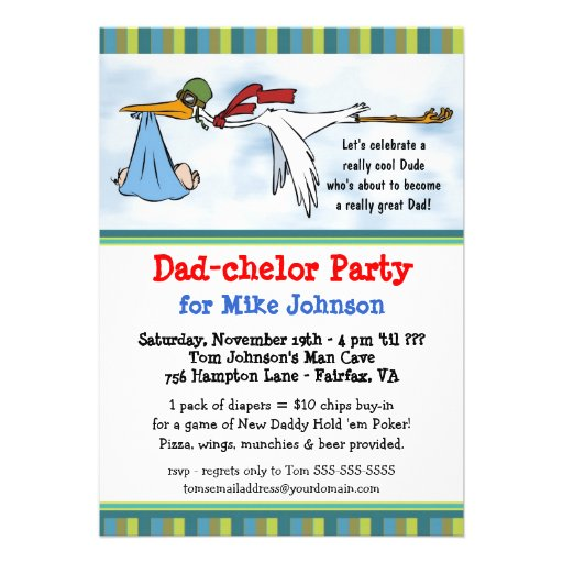 Dadchelor - Cute New Daddy Poker Party Invitations