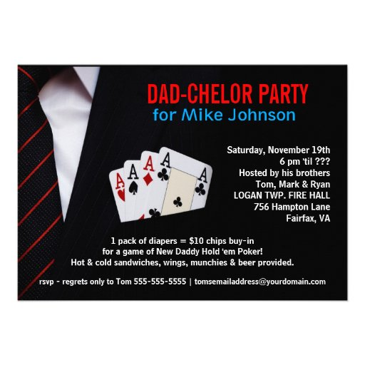 Dadchelor - Sophisticated Poker Party Invitations
