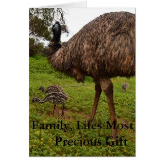 Daddy And Baby Emu Chicks, Birthday Love Card. Card