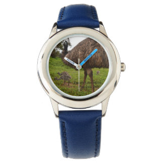 Daddy And Baby Emu Chicks Kids Blue Leather Watch