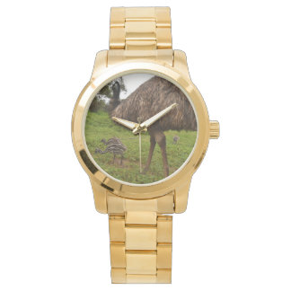 Daddy And Baby Emu Chicks Lge Unisex Gold Watch