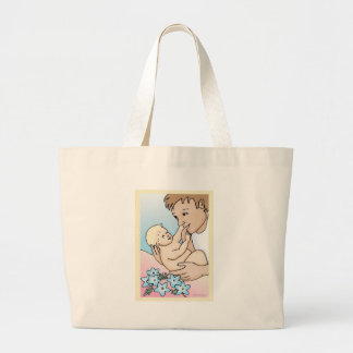 Daddy and Baby Large Tote Bag