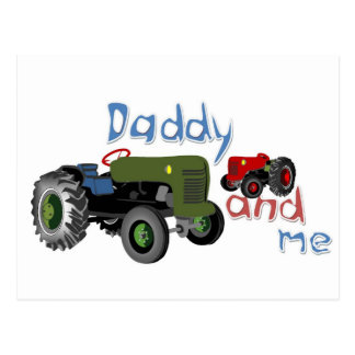 Daddy and Me Tractors Postcard