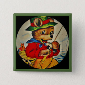 Daddy Bear Fisherman 2 Inch Square Button
