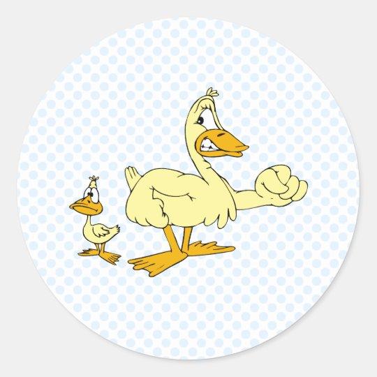 Daddy & Diddy Duck Classic Round Sticker