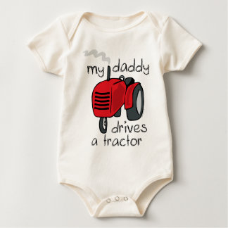 Daddy Drives A Tractor Baby Bodysuit