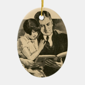Daddy Girl Father Vintage 1920s Reading Daughter Ceramic Ornament