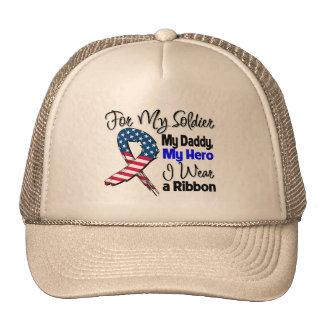 Daddy - My Soldier, My Hero Patriotic Ribbon Mesh Hats