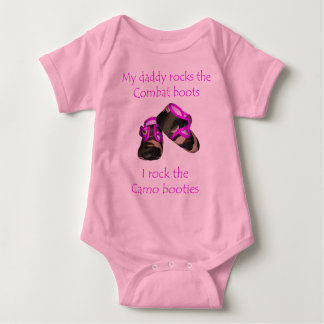Daddy rocks combat boots baby  rocks camo booties baby bodysuit