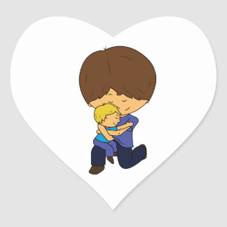 Daddy & Son Chibis Heart Sticker