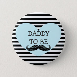 Daddy to be Black Striped Mustache Button