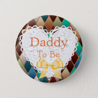 Daddy to be Orange, Blue Brown Baby Shower Button