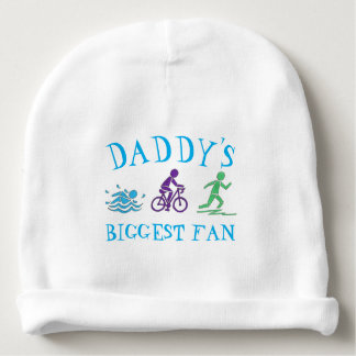 Daddy's Biggest Fan Swim Bike Run Triathlon Race Baby Beanie