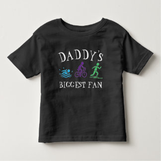 Daddy's Biggest Fan Swim Bike Run Triathlon Race Toddler T-shirt