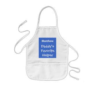 Daddy's Favorite Helper Custom Name Blue W1551 Kids Apron