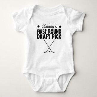 Daddy's First Round Draft Pick Hockey Baby Bodysuit