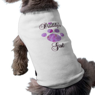 Daddy's Girl With Floral Paw Dog Tee