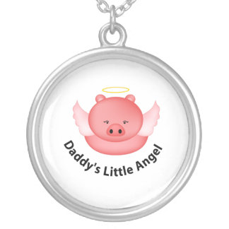 daddys little angel silver plated necklace