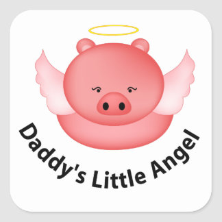 daddys little angel square sticker