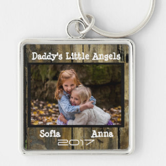 Daddy's Little Angels Wood Rustic Photo Keychain