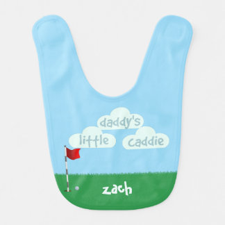 Daddys Little Caddie Cute Little Golfer Baby Bib