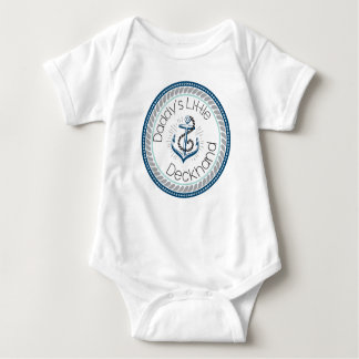 Daddy's Little Deckhand -- Marine & Gray Baby Bodysuit