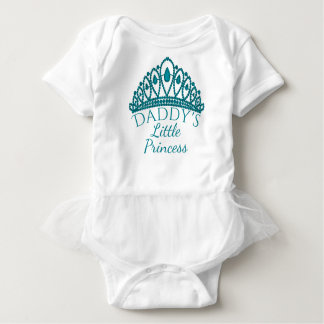 Daddy's Little Princess Cute Teal Tiara Baby Bodysuit