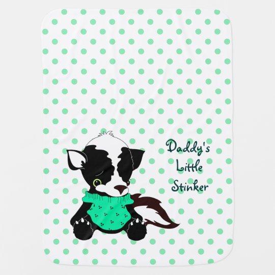 Daddys Little Stinker Skunk Polka Dot Receiving Blankets