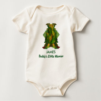 Daddy's Little Warrior with Child's Name Baby Bodysuit