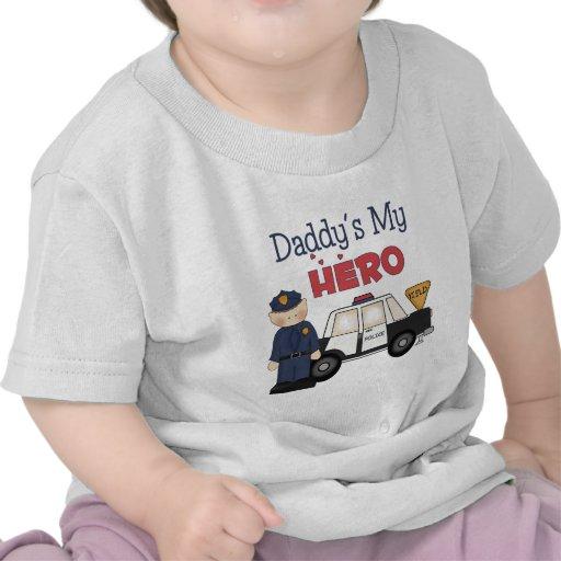 Daddy's My Hero Policeman T Shirt